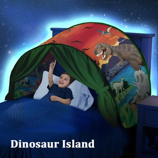 DreamTents Fun Pop Up Tent - Dinosaur Island- Twin Size