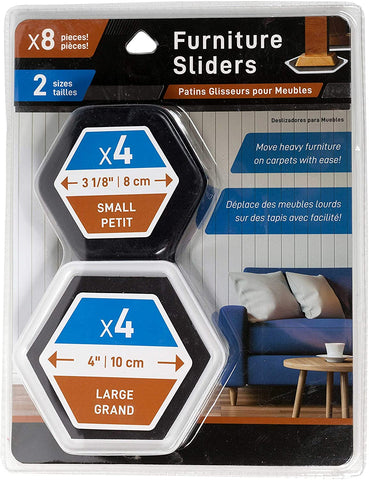Furniture Sliders-8 pieces-2 sizes(4 Small & 4 Large)