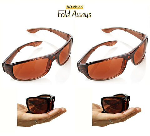 HD Vision Fold Aways Sunglasses Deluxe- 2 Pack (Tortoise)