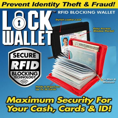 Lock Wallet - RFID Blocking Wallet for Men and Women - Protection from Identity Theft (Red)