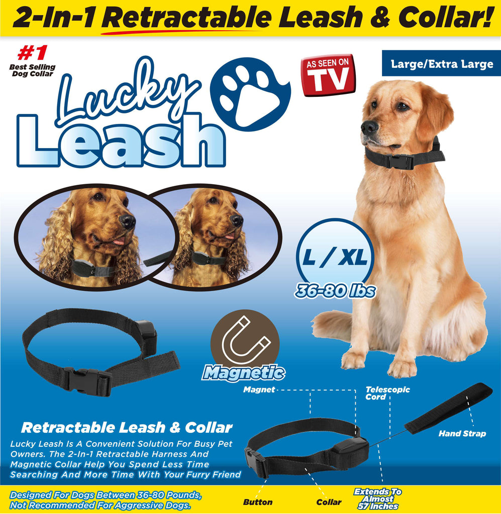 Lucky Leash- 2-n-1 Retractable Leash & Collar- L/ XL
