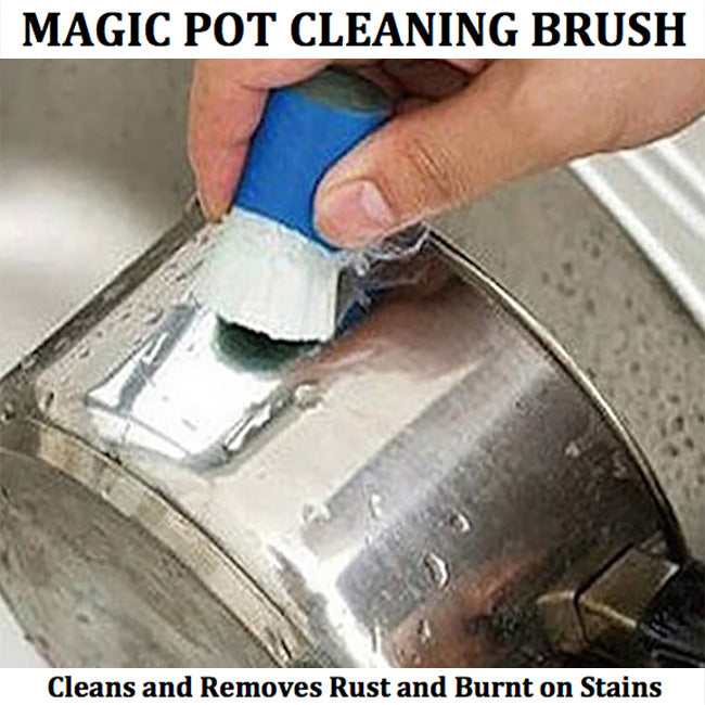 MAGIC POT CLEANING BRUSH- Rust Remover and Burnt on Stains- Set of 2