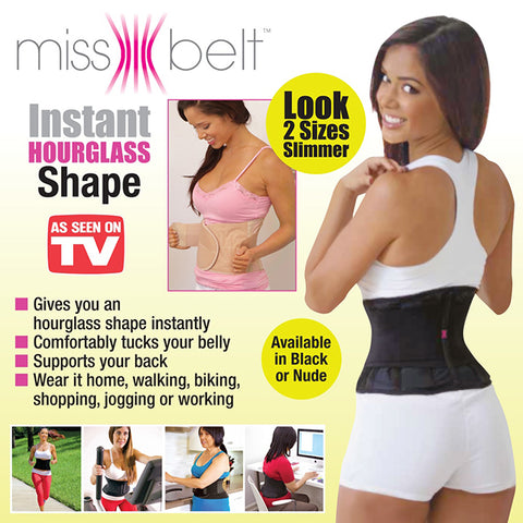 Miss Belt Pro Instant Hourglass Shape S/M - 2 Pack- Black/Nude
