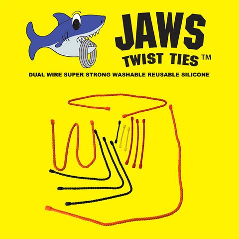 Jaws Twist Ties Dual Wire Super Strong Washable Silicone Reusable (Assorted )