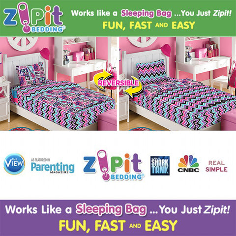 As Seen on TV ZIPIT Bedding Set, Rock Princess(Twin)