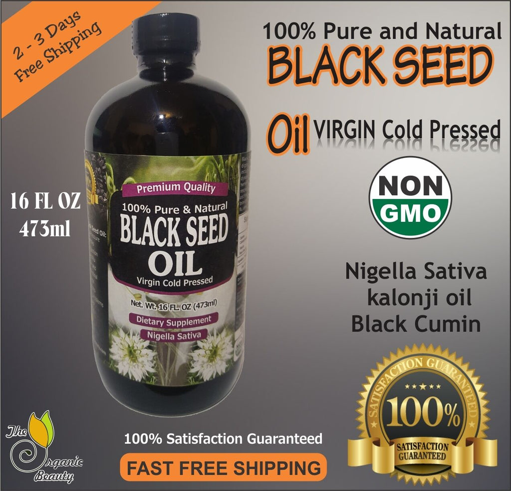 16 oz 100% Pure Black Seed Oil Cold Pressed Cumin Nigella Sativa non GMO - Men Guide Store