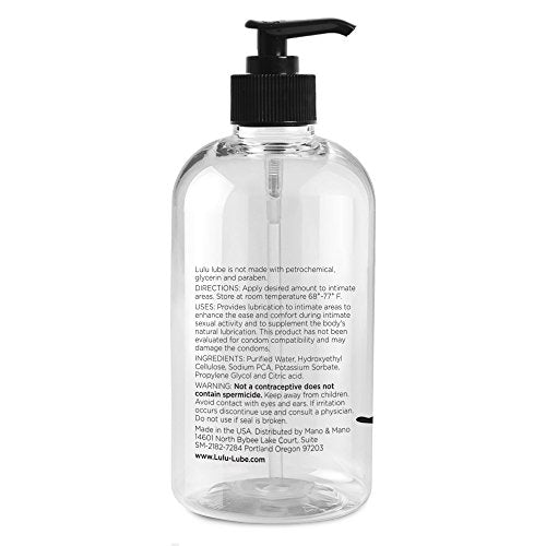 Lulu Lube Natural Water-Based Lubes for Men and Women. 16 oz.