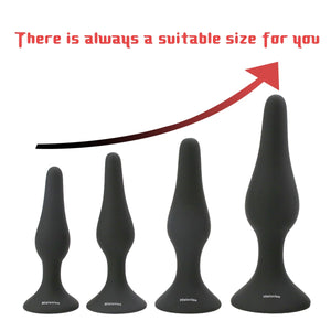 Hisionlee Sexy Toys 4PCS Anal Plug Set Medical Silicone Sensuality Anal Toys(Black) - Men Guide Store