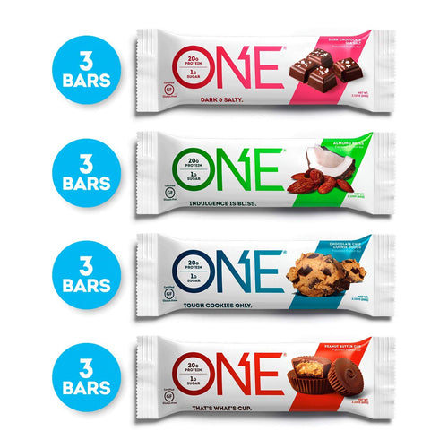 ONE Protein Bars, Chocolate Lovers Variety Pack, Gluten Free 20g Protein and only 1g Sugar, Dark Chocolate Sea Salt, Chocolate Chip Cookie Dough, Peanut Butter Cup & Almond Bliss, 2.12 oz (12 Pack) - Men Guide Store