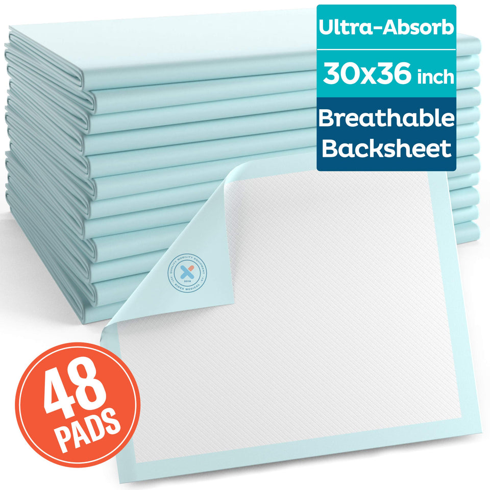 [48 Pack] Underpads 30 x 36 Disposable Ultra-Heavyweight Super Absorbent & Waterproof - Men Guide Store