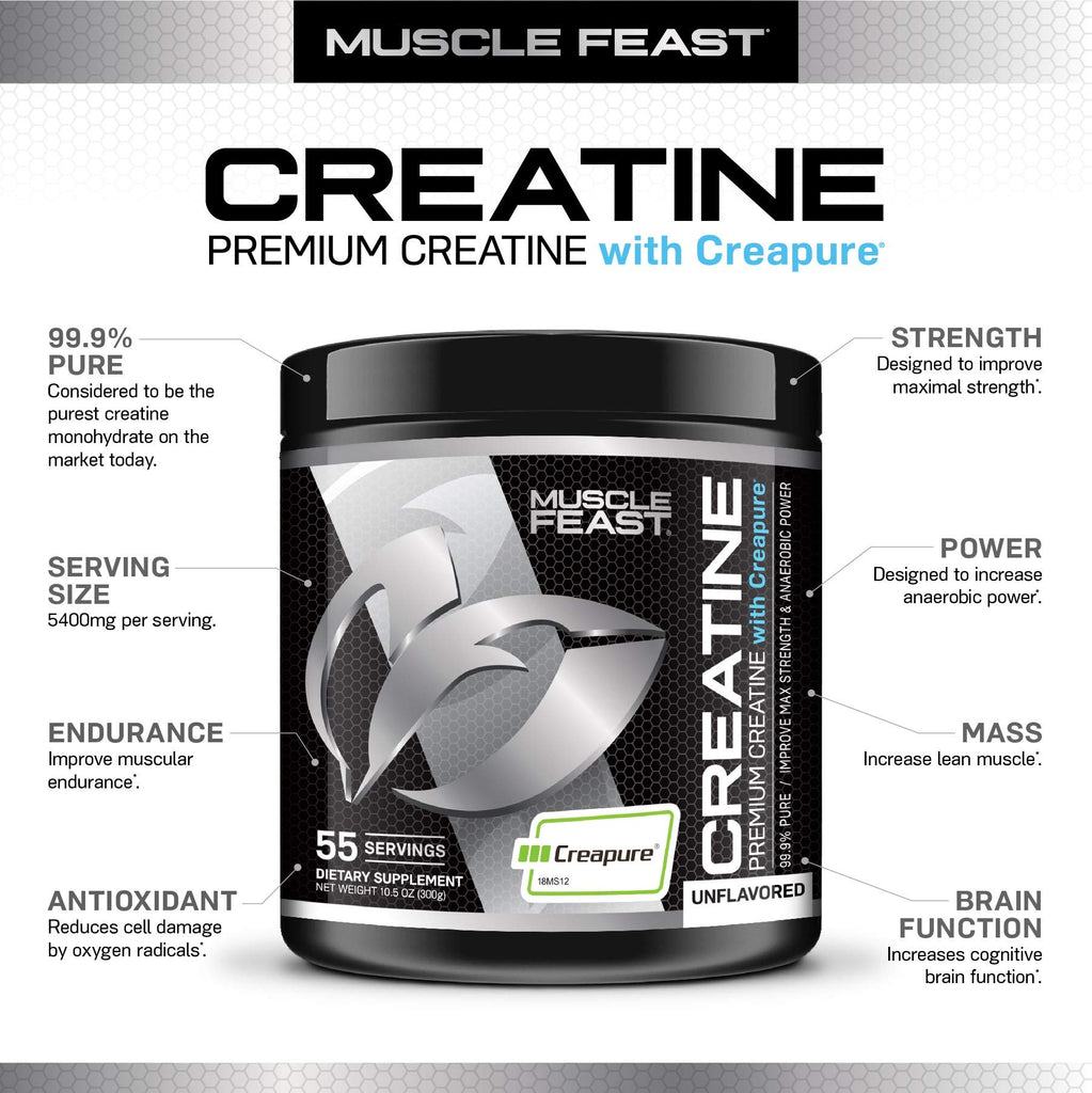 Creapure Creatine Monohydrate Powder - by Muscle Feast | Premium Pre-Workout or Post-Workout | Easy to Mix and Gluten-Free (300g, Unflavored) - Men Guide Store