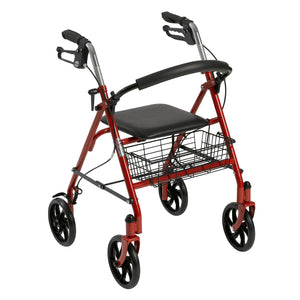 Drive Medical Four Wheel Rollator with Fold Up Removable Back Support, Red - Men Guide Store