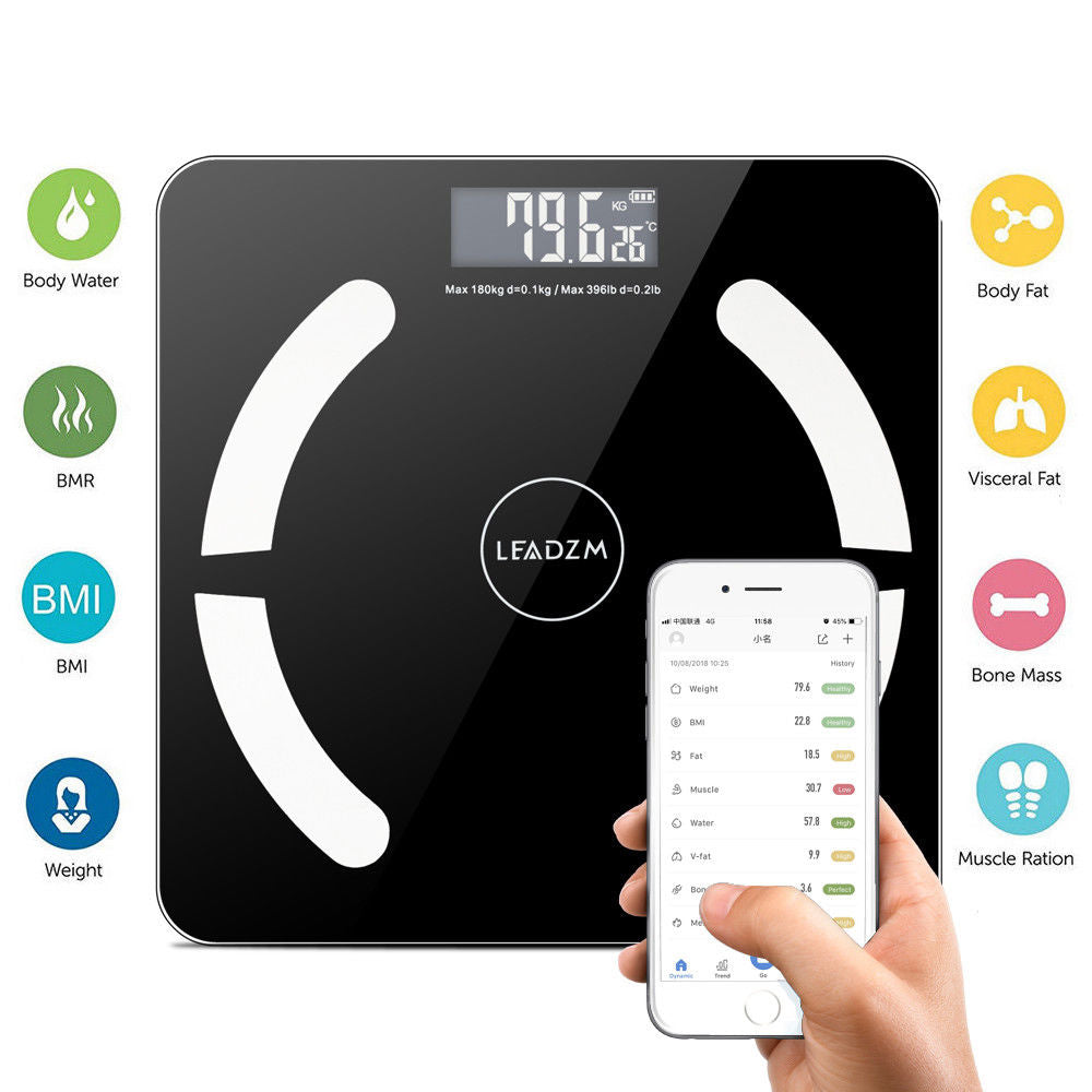 Bluetooth LCD Digital Smart Scale Body Weight Fat BMI Bone Analyzer APP +Battery - Men Guide Store