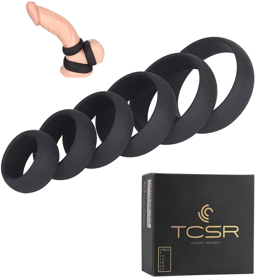 TCSR 6 Different Size Cock Rings - Medical Grade Soft Silicone Penis Rings - Better Sex - Men Guide Store
