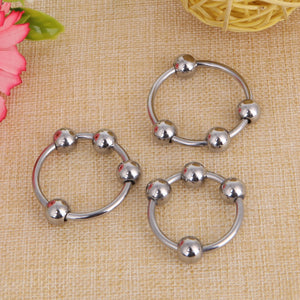 Penis Glans Ring Stainless Steel Bondage Erection Ring with 4 Pressure Balls - Men Guide Store