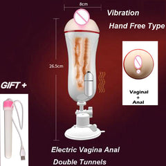 Vagina Anal Masturbation Cup Vagina Real Pussy Blowjob Vibrator Male Mastrubator For Man - Men Guide Store