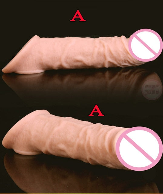Penis Sleeve Extender Super Soft Silicone Realistic Cock Sex Toys For Men - Men Guide Store
