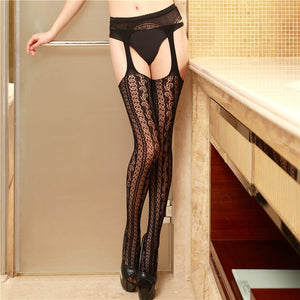 Black Sexy Lace Lingerie Socks Sexy Girl Female Hosiery Nylon Lace Style Stay - Men Guide Store