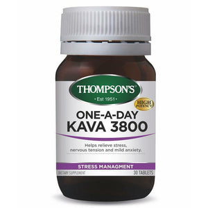 THOMPSON'S ONE A DAY KAVA 3800 30 TABLETS STRESS ANXIETY NERVES RELIEF THOMPSONS - Men Guide Store
