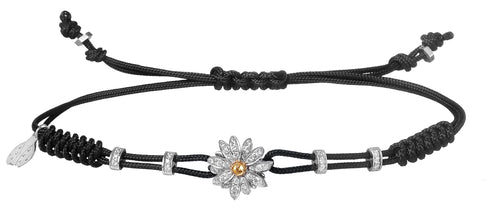 BRACELET WITH DAISY IN GOLD AND DIAMONDS