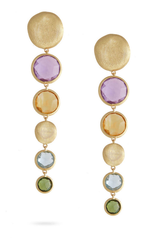EARRINGS JAIPUR IN GOLD WITH SEMIPRECIOUS STONES