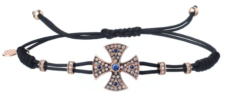 BRACELET WITH TEMPLAR CROSS IN GOLD WITH DIAMONDS AND RUBIES