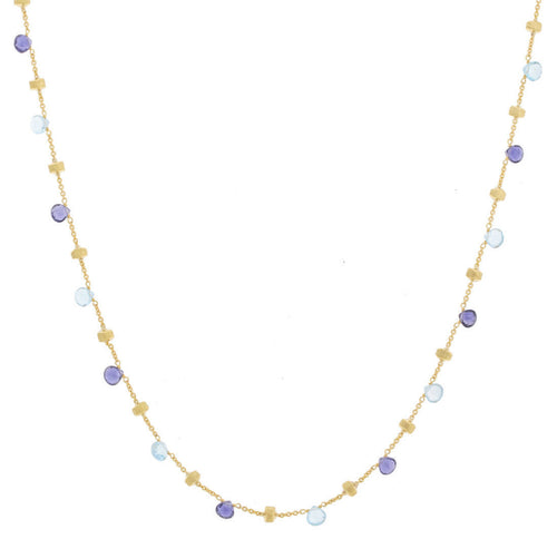 NECKLACE PARADISE IN GOLD WITH IOLITE AND BLUE TOPAZ