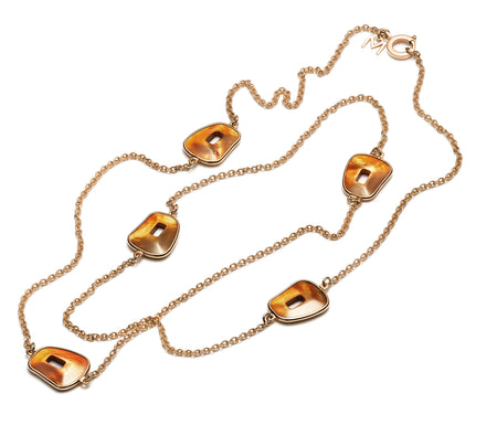 NECKLACE PUZZLE IN GOLD WITH BROWN DIAMONDS AND INTERCHANGEABLE STONES