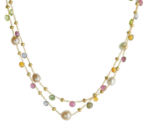 NECKLACE IN GOLD WITH PEARLS AND SEMIPRECIOUS STONES