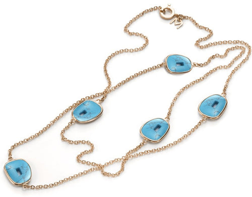 NECKLACE PUZZLE IN GOLD WITH TURQUOISE