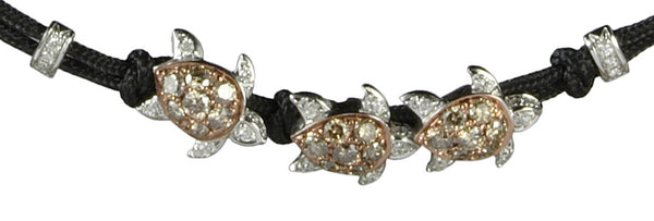 BRACELET WITH 3 TURTLES IN GOLD AND DIAMONDS
