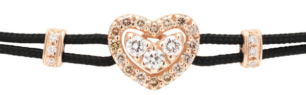 BRACELET WITH HEART IN GOLD AND DIAMONDS