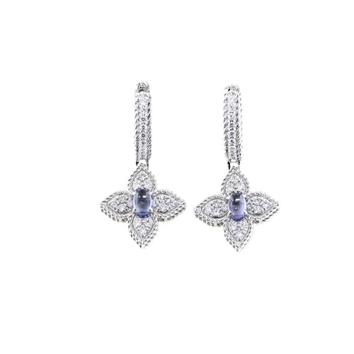 EARRINGS PRINCESS FLOWER IN GOLD WITH TANZANITES AND DIAMONDS