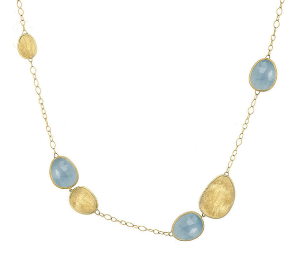 NECKLACE IN GOLD WITH AQUAMARINE