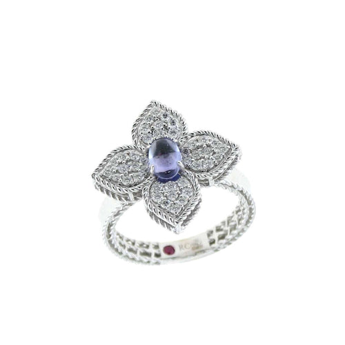 RING PRINCESS FLOWER IN GOLD WITH TANZANITE AND DIAMONDS