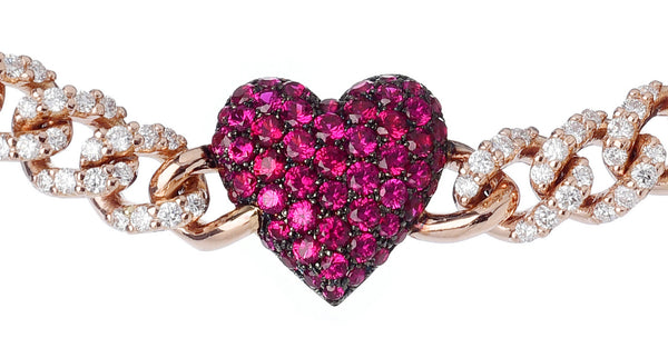 BRACELET WITH HEART IN GOLD WITH RUBIES AND DIAMONDS