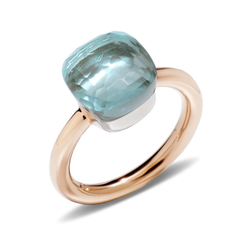 RING NUDO CLASSIC IN GOLD WITH BLUE TOPAZ