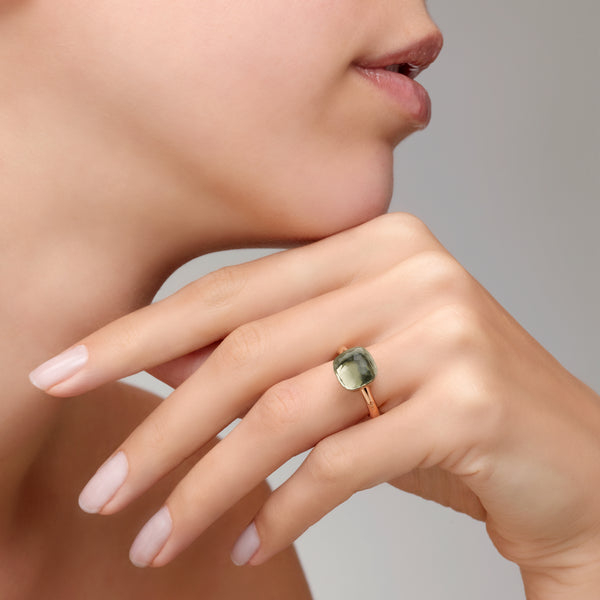 RING NUDO CLASSIC IN GOLD WITH PRASIOLITE
