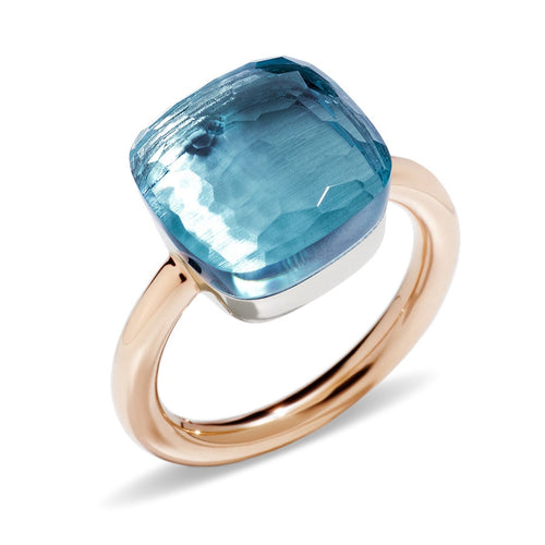 RING NUDO MAXI IN GOLD WITH BLUE TOPAZ