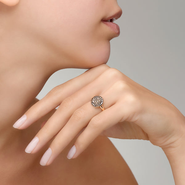 RING SABBIA LARGE IN GOLD WITH BROWN DIAMONDS