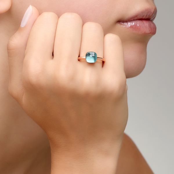 RING NUDO PETIT IN GOLD WITH BLUE TOPAZ