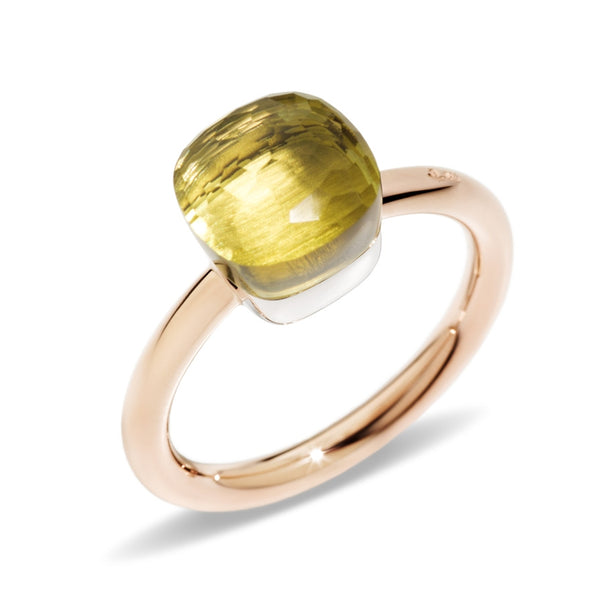 RING NUDO CLASSIC IN GOLD WITH LEMON QUARTZ