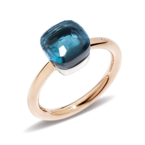 RING NUDO PETIT IN GOLD WITH LONDON BLUE TOPAZ