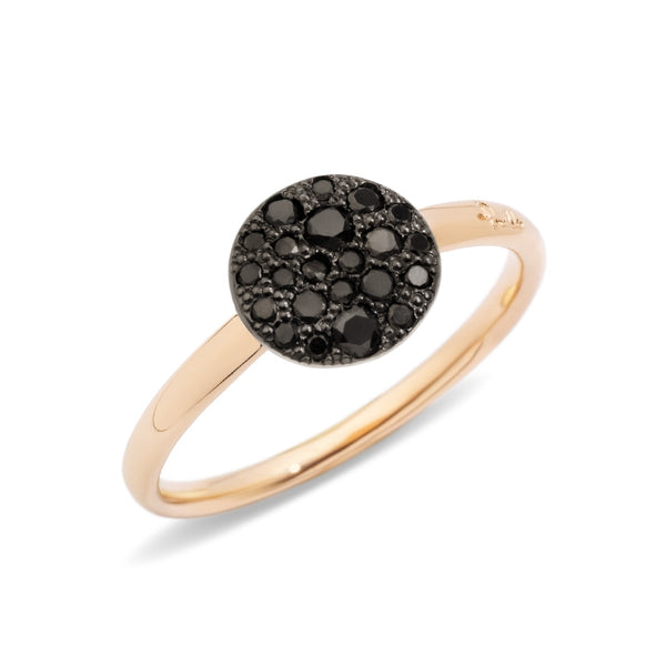 RING SABBIA SMALL IN GOLD WITH BLACK DIAMONDS
