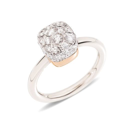 RING NUDO SOLITAIRE IN GOLD AND DIAMONDS
