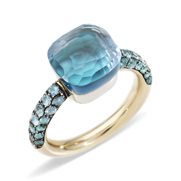 RING NUDO CLASSIC DEEP BLUE IN GOLD WITH BLUE TOPAZ