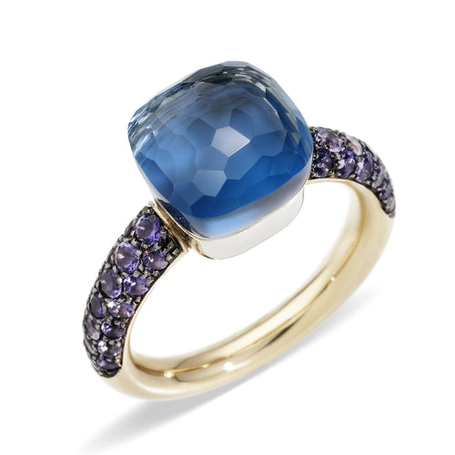 RING NUDO CLEASSIC DEEP BLUE WITH LONDON BLUE TOPAZ