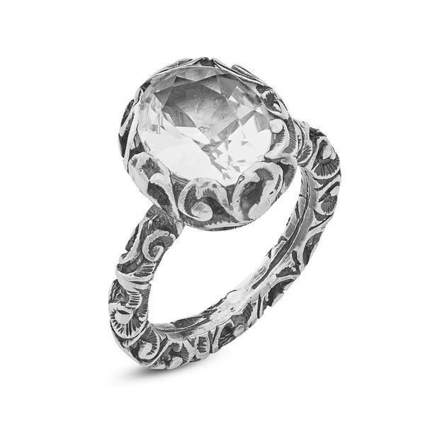 RING IN STERLING SILVER WITH PRASIOLITE