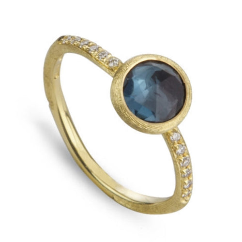 RING JAIPUR IN GOLD WITH LONDON BLUE TOPAZ AND  DIAMONDS