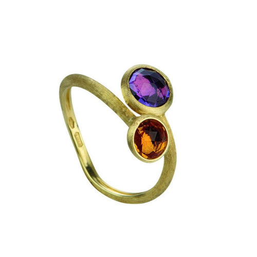 RING IN GOLD WITH AMETHYST AND CITRINE